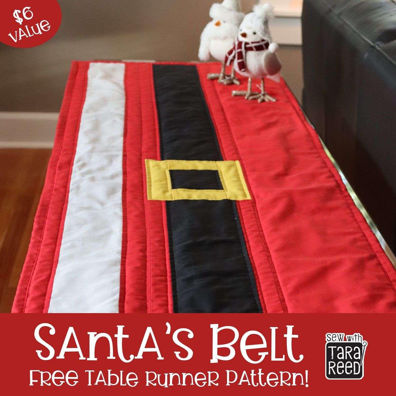 FREE Christmas Table Runner Pattern – Santa's Belt