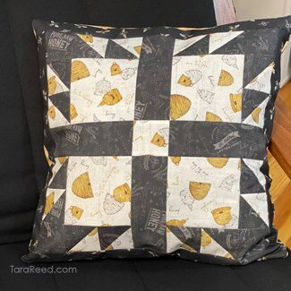 Pillow with Bee's Life Fabric by Tara Reed
