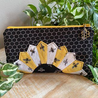 Dresden Rose Zipper bag with Bee's Life Fabric by Tara Reed