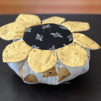 Pincushion with Bee's Life Fabric by Tara Reed
