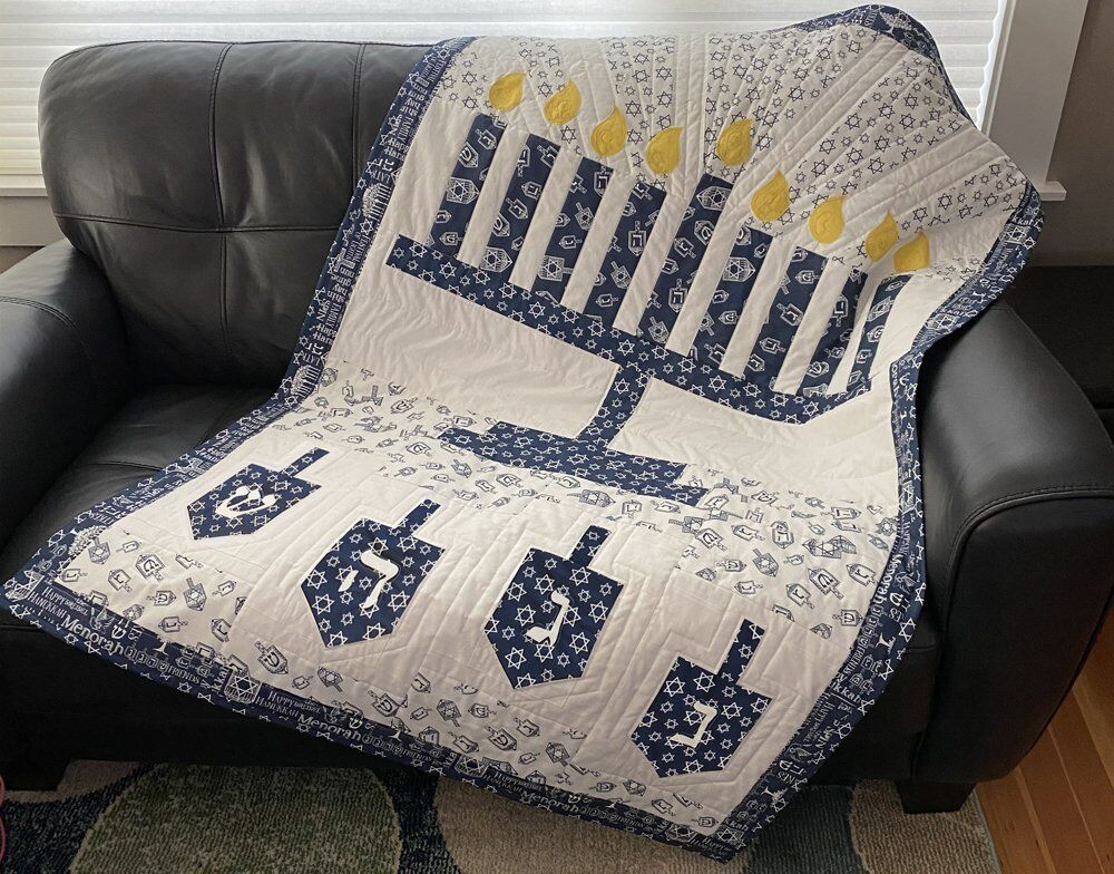 Hanukkah Menorah and Dreidel Throw Quilt by Tara Reed