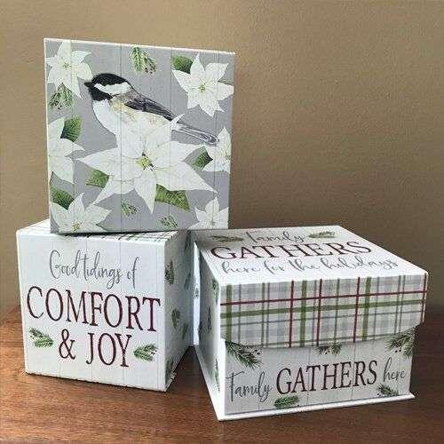Chickadee Christmas Boxes - art by Tara Reed