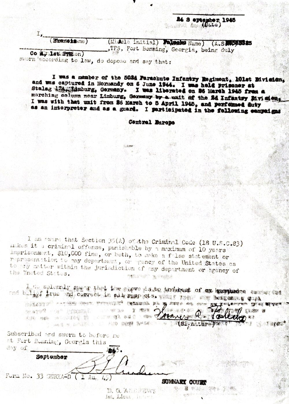 Frank Palecko - US Army Discharge Papers - 1945