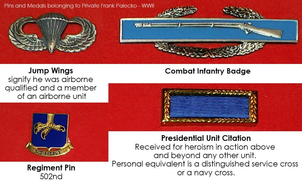 Frank Palecko - Pins and Medals from World War II