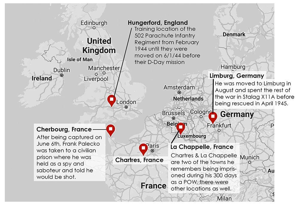Map of Frank Palecko's memories of training, capture and imprisonment before and after D-Day
