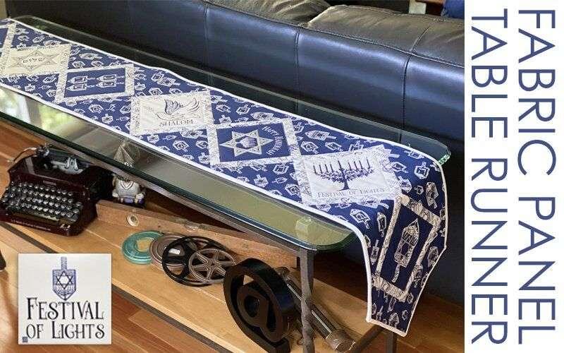 Make a Table Runner for Hanukkah using the Festival of Lights Fabric Panel