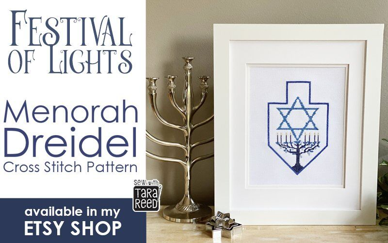 Festival of Lights Menorah Dreidel Cross Stitch Pattern