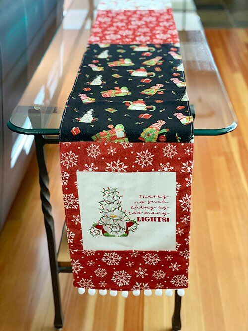 Gnome Christmas table runner