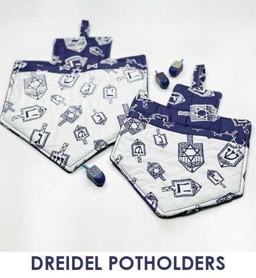 Sew for Hanukkah - slideshow - dreidel potholders