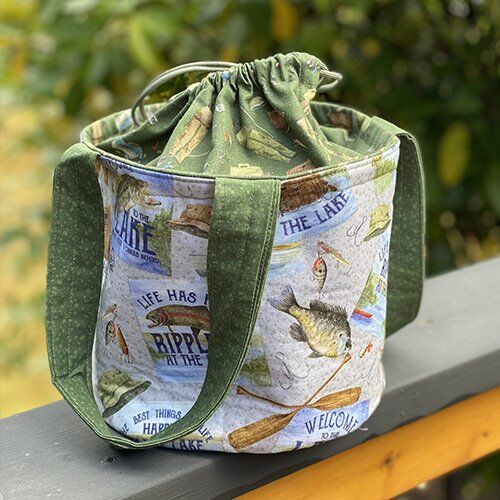 Lake Themed drawstring bag by Tara Reed