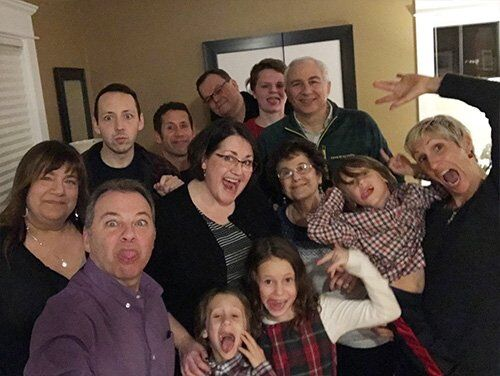 goofy family photo at Christmas