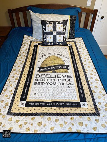 Bee's Life fabric by Tara Reed - quilt and pillows