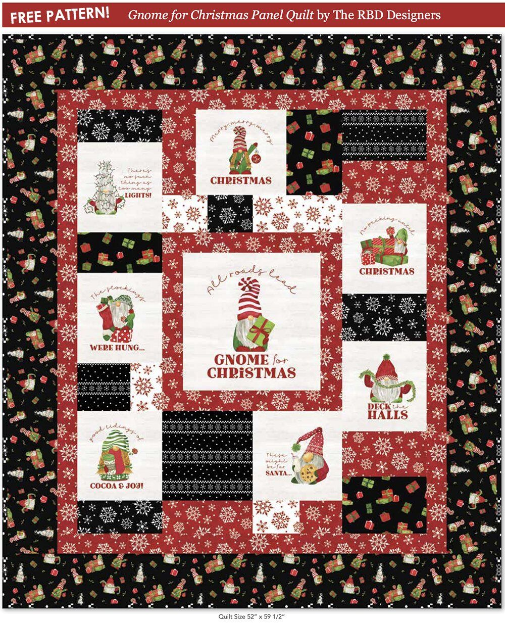 Free Christmas Quilt Pattern: Gnome for Christmas by Tara Reed