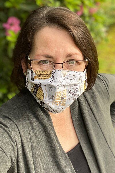 Face Masks featuring Bee's Life fabric by Tara Reed for Riley Blake Designs