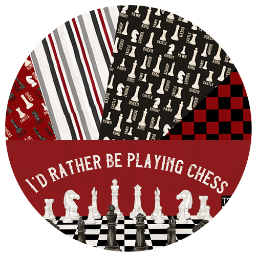 I'd Rather be Playing Chess fabric by Tara Reed