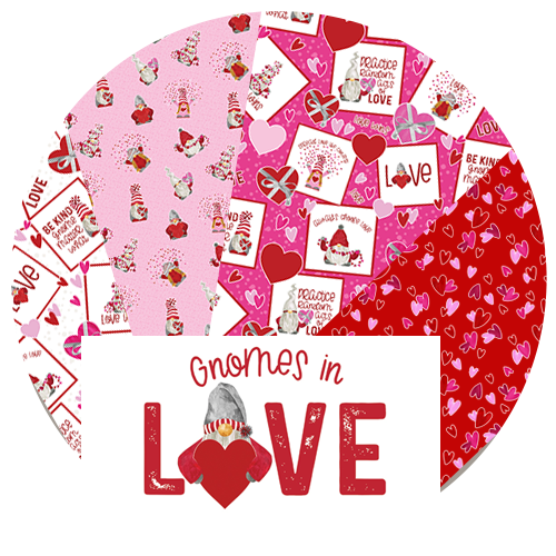 Gnomes in Love fabric by Tara Reed for Riley Blake Designs