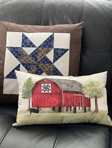 Pillows from Barn Quilts Fabric by Tara Reed