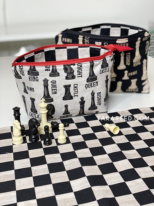 zipper bags from Chess Fabric by Tara Reed