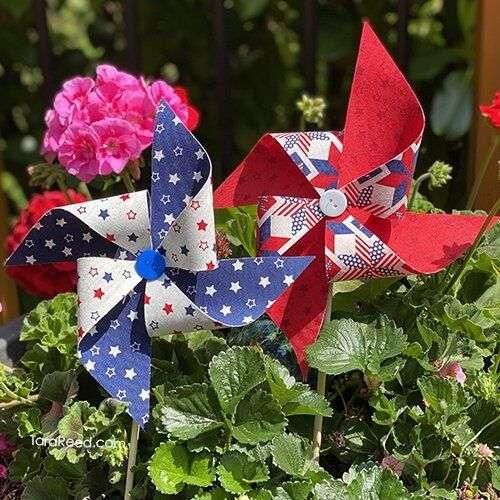 Fabric Pinwheels in flower pot
