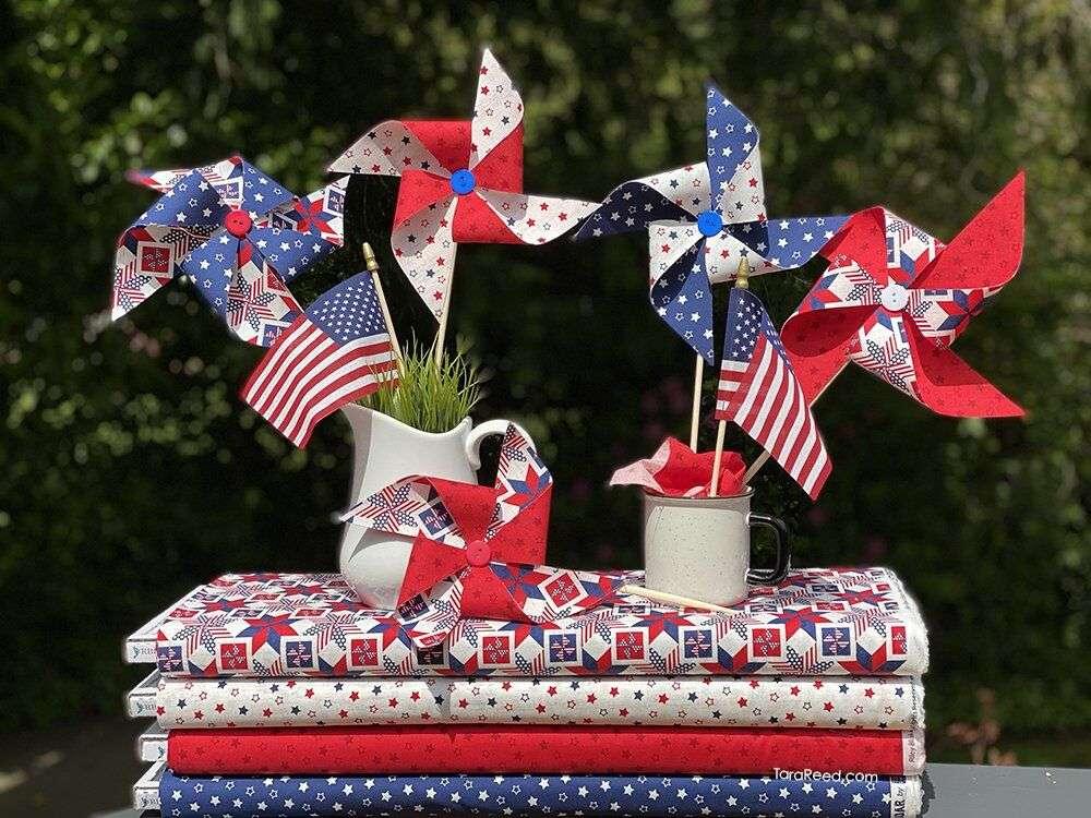 Fabric Pinwheels with Let Freedom Soar fabrics by Tara Reed