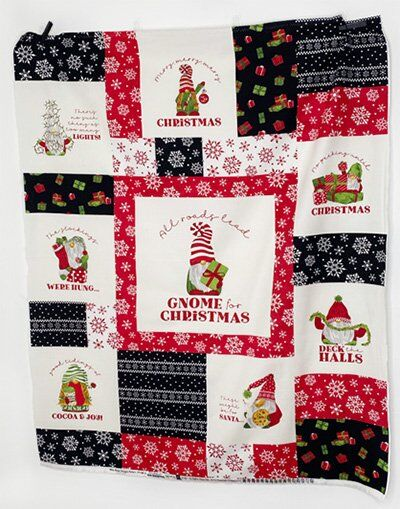 Gnome for Christmas quilt panel