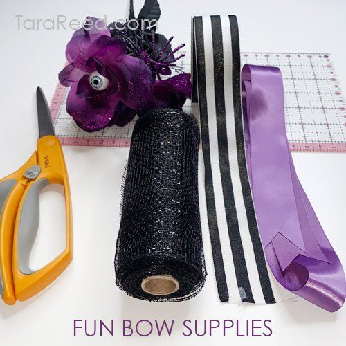 bow supplies for halloween sign