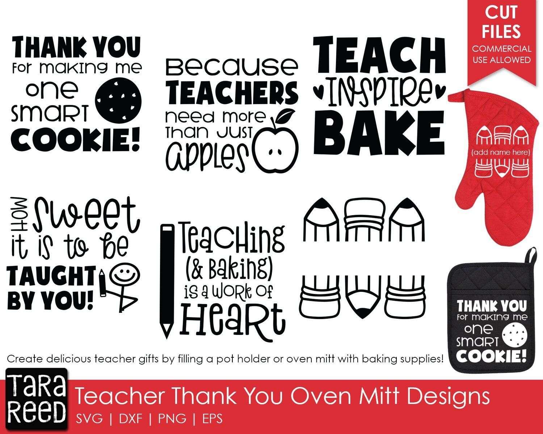 Teacher Oven Mitt SVG and Cut Files by Tara Reed