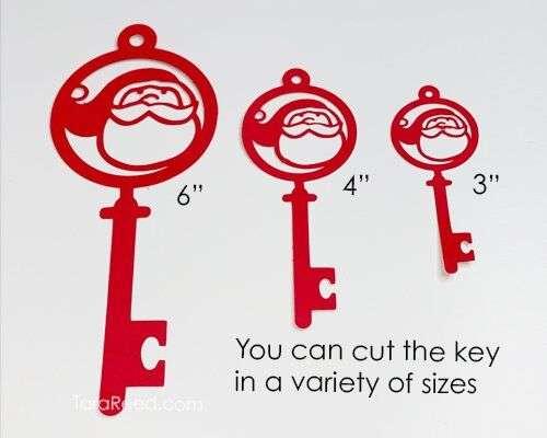 3D Santa's Magic Key Layered Paper Cut key sizes